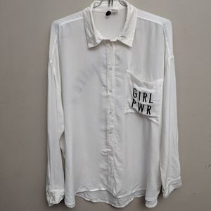 H&M Divided GIRL PWR Feminist Button Down Shirt